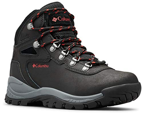 Columbia Women's Newton Ridge Plus Hiking Boot, Black/Poppy Red, 6.5 Regular US