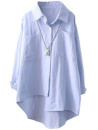 LaovanIn Women's Casual Button-up Shirts Long Sleeve High-Low Blouse Tops Medium Sky Blue