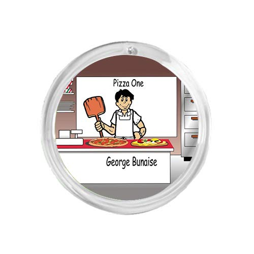 PrintedPerfection.com Personalized Round Christmas Ornament NTT: Pizza Maker Male Pizza Shop, Dominos
