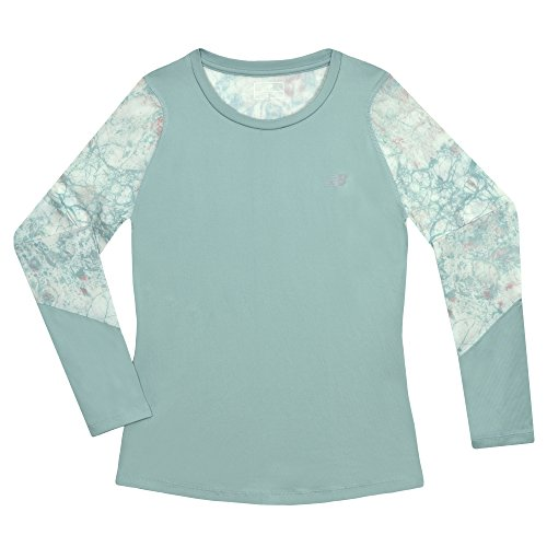 Sage Long Sleeve Tee - New Balance Kids Big Girls' Long Sleeve Performance Tee, Mineral Sage/Marble, 16