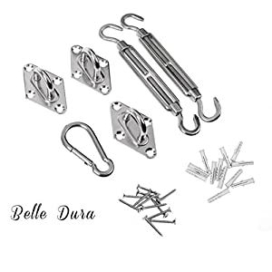 Belle Dura Sun Shade Sail Hardware Kit for Triangle Sun Shade Sail Installation 316 Stainless Steel 6 Inches Silver