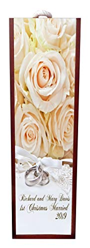 Jacks Outlet 1st Christmas Married - 2019 Peach Roses Wine Box Personalized - Wine Box Rosewood with Slide Top - Wine Box Holder - Wine Case Decoration - Wine Case Wood - Wine Box Carrier ()