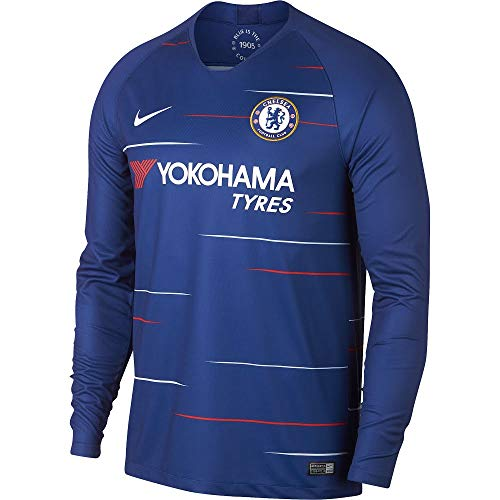 2018-2019 Nike Chelsea Long Sleeve Home Jersey (Rush Blue) ()