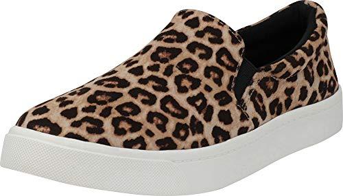 Cambridge Select Women's Classic Round Toe Stretch Slip-On Flatform Fashion Sneaker,8.5 M US,Oatmeal Cheetah IMSU