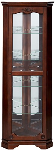 (5-shelf Corner Curio Cabinet with Acanthus Leaf Top Golden Brown and Clear)