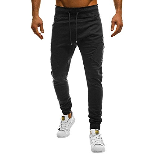 HTHJSCO Men's Fitness Workout Running Bodybuilding Joggers Pants, Men's Sport Casual Loose Sweatpants Drawstring Pant (Black, XXXXL) by HTHJSCO