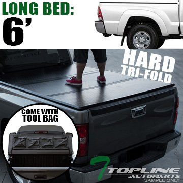 "Topline Autopart Solid Tri Fold Hard Truck Bed Tonneau Cover With Tool Bag For 16-18 Toyota Tacoma Access (Extended)/Double (Crew) Cab 6 Feet (72"") Long Bed"