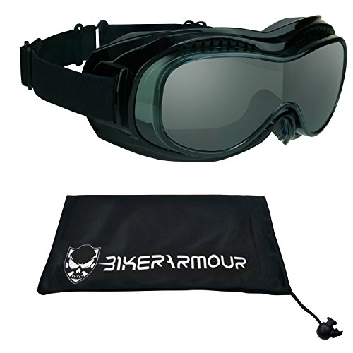 Motorcycle Fit Over Goggles with Safety Polycarbonate Smoke Lenses. Extra Large Microfiber Cleaning Case Included