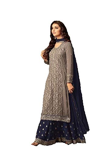 ziya Indian/Pakistani Ethnic wear Georgette Plaazo Salwar Kameez (Blue, S-38) (Salwar Blue Suit)