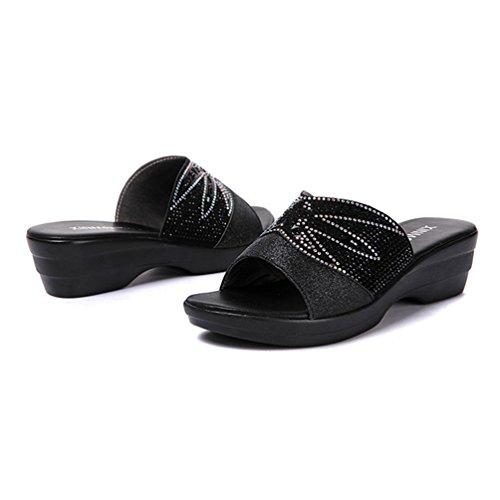 Bas Brillante Sandales Noir Plate pour Robe Forme Confort antidérapant Noir Sandales Strass Femmes Diapositives Cales dOSnPd7fq
