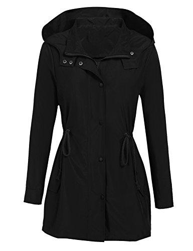 (Donkap Women's Versatile Militray Anorak Parka Hoodie Jackets With Drawstring (Black S))