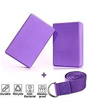 KidsHobby 2er-Set Yoga Blöcke/Yogablock mit 1 Stück Yogagurt für Rücken und Blockaden Regeneration Training Dehnübungen (Blau)
