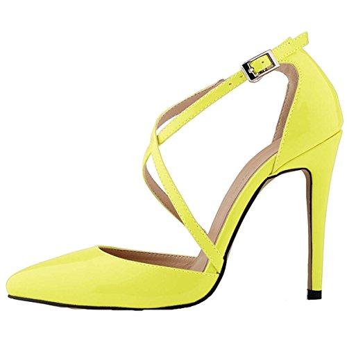 Win8Fong - Sandalias de vestir para mujer Amarillo - amarillo
