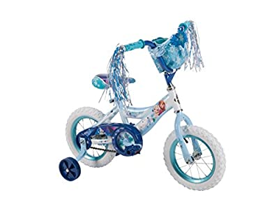 Disney Frozen 12-inch Bike by Huffy, Ideal for Ages 3-5 and Rider Height of 37-42 inches, Cloth Handlebar Basket, Pedals with Snowflake Design, plus Elsa & Anna Graphics, Style 22237 by The Huffy Bicycle Company
