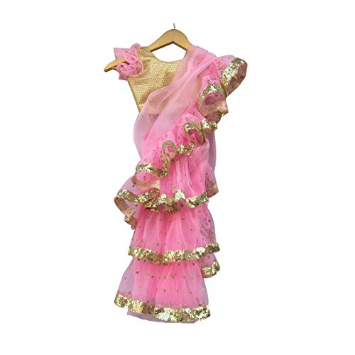 pre Stitched Saree Blouse, pre Stitched Saree with Petticoat, pre Stitched,Readymade Sari. Pink