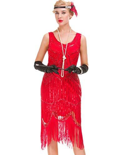 GVOICE Women's 20S Gatsby Dress - Inspired Art Deco Flapper Dress (S, Bright red) -