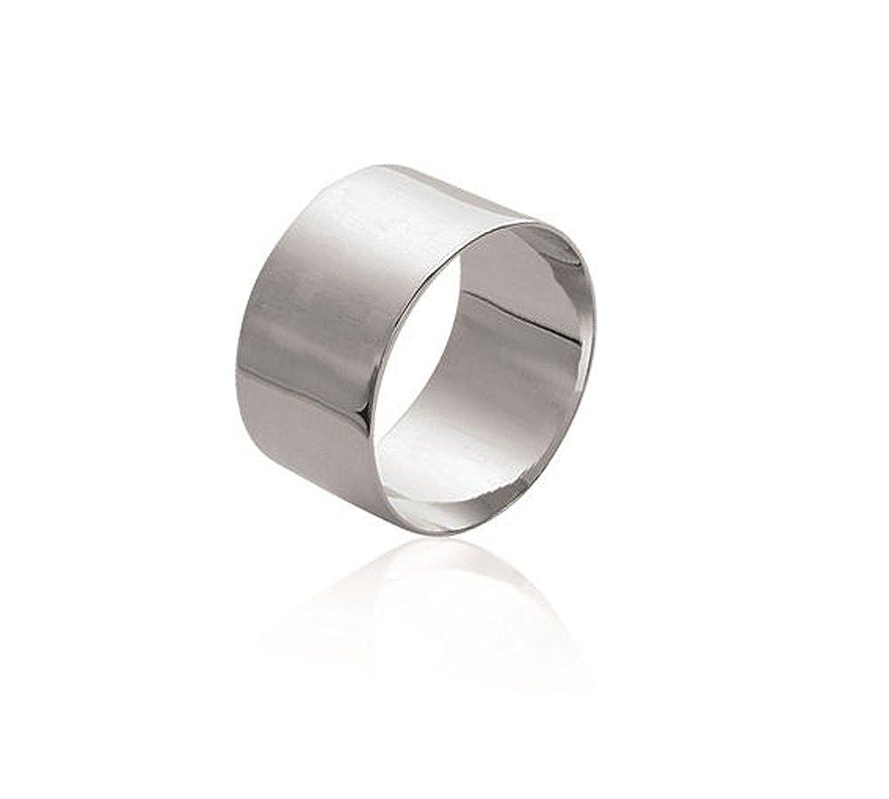 Anello in argento 925, %2F000 Rhodie-Anello largo, larghezza 10 mm-Portagioie da donna, unisex Les Plaisirs de Stella B7204200
