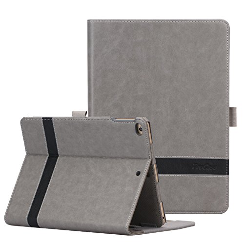 ProCase iPad 9.7 2018/2017, iPad Air 2, iPad Air Case - Leather Stand Folio Cover Case with Multi-Angle Viewing for Apple iPad 9.7 inch, Also Fit iPad Air 2 / iPad Air -Grey by ProCase