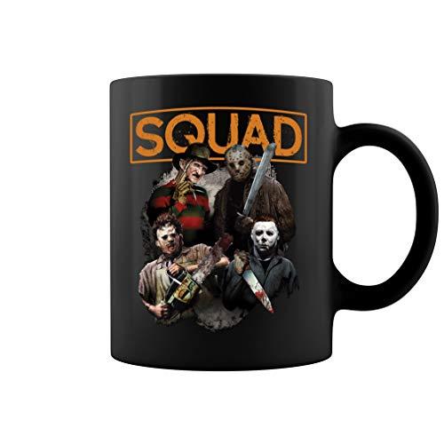 Freddy Jason Michael Myers and Leatherface Squad Hall Ceramic Coffee Mug Tea Cup (11oz, Black)
