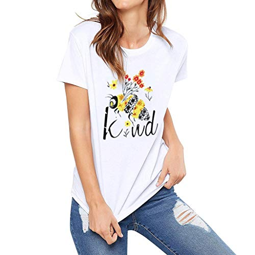 Witspace Women's Short Sleeve Casual Comfort Letter Print Tops T-Shirt Loose Blouse