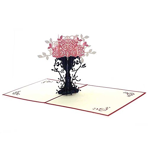 Huayang| 3D Pop Up Flower Greeting Cards Thanksgiving Day Christmas Eve Anniversary Wedding Happy Birthday Invitation Cards Flower Flowerpot Handmade Best Wish Greeting Card Kirigami Thank You Cards