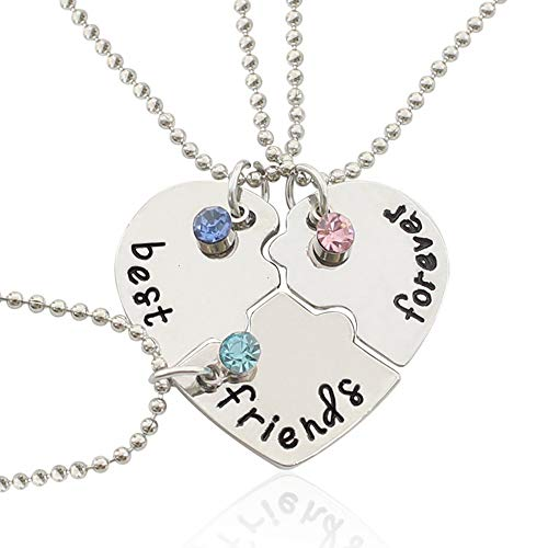 Necklace, 6 Pack Best Friend Forever Pendant Necklaces with Crystal Broken Heart Charm Friendship Necklace