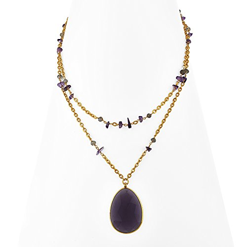 18K Gold-Plated Large Oval Purple Amethyst Gemstone Double Strand Pendant Necklace, 18 inches (18k Large Oval Gemstone)