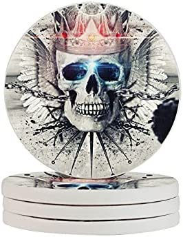POAA Diatomite Cup Coasters Set of 4 Cups Holder Mat Skull King Angel Wings Laser Round Water Absorbent Drink Mugs Coaster for Car Office Kitchen Cafes