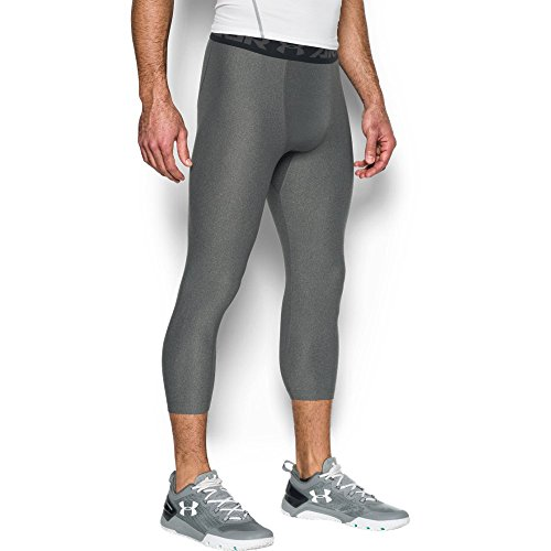 Under Armour Men's HeatGear Armour Compression ¾ Leggings, Carbon Heather/Black, Medium