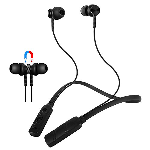 Molato Bluetooth Headset, Wireless Neckband Bluetooth Headphones Waterproof IPX5 Magnetic Design Stereo Earbuds Bluetooth V4.2 in Ear Earbuds Sport Running Headphones wih 8 Hours Playtime (Black)
