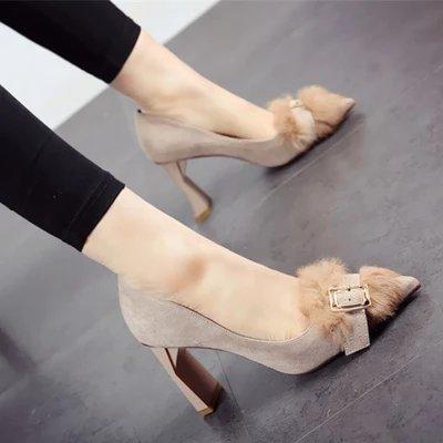 FLYRCX La primavera y el otoño temporada zapata única cabeza euclidiana suede y zapatos de tacón alto las señoras zapatos de trabajo cómodo b