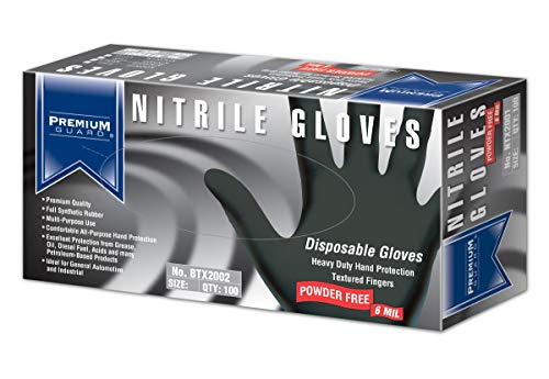 Premium Guard – Nitrile Gloves – Disposable, Powder Free, Latex Rubber Free, 5 mil, Black Nitrile Gloves, 100 gloves per Box, Size – XL