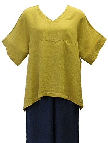 Match Point Women's Citron Linen Kimono Tunic Oversized (1X)
