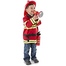 "Melissa & Doug Fire Chief Role Play Costume Set, Pretend Play, Frustration-Free Packaging, Bright Red, 17.5"" H x 24"" W x 2"" L"