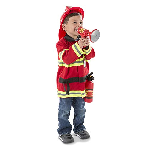 (Melissa & Doug Fire Chief Role Play Costume Set, Pretend Play, Frustration-Free Packaging, Bright Red, 6 Pieces, 17.5