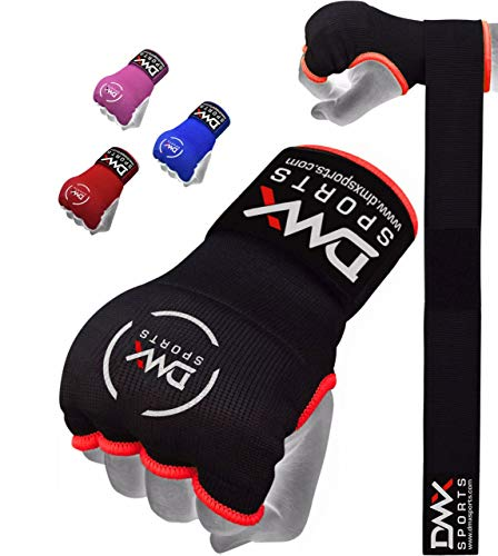 DMX Sports Gel Padded Inner Gloves Training Gel Elastic Hand Wraps for Boxing Gloves Quick Wraps Men & Women Kickboxing Muay Thai MMA Bandages Fist Knuckle Wrist Wrap Protector Handwraps (Pair)