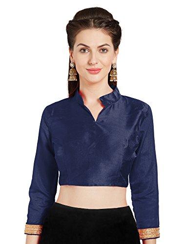 Women's Navy Blue Art Silk Readymade Saree Blouse Choli Mirchi Fashion (Navy Blue Art Silk)