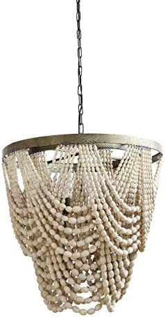 Metal Chandelier with Draped Wood Beads