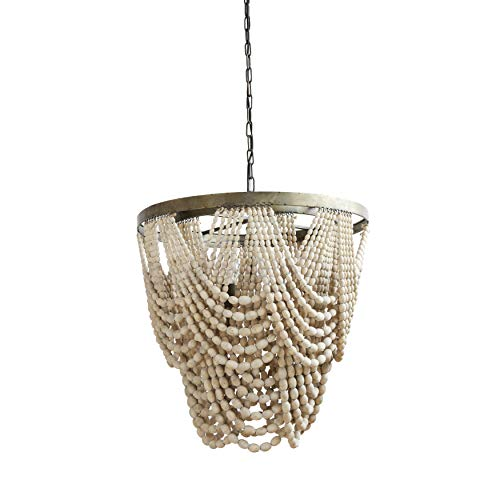 Metal Chandelier with Draped Wood Beads ()