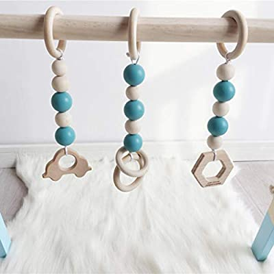 CHBC 3pcs Baby Gym Toys Wood Baby Teether Pendant Baby Activity Gym Hanging Toy (Green): Toys & Games