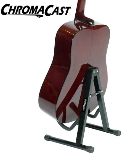 Soporte de marco en A plegable ChromaCast para guitarras acústicas y eléctricas con bloqueo seguro (CC-MINIGS)
