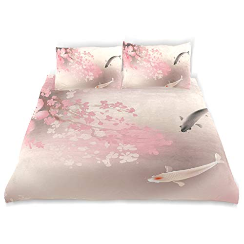 YCHY Decor Duvet Cover Set, Sakura Blossom in Japan with Sacred Creature Asian Culture Lovely Nature Orient A Decorative 3 Pcs Bedding Set with Pillowcases, Twin/Twin XL