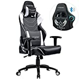 GTRACING Music Gaming Chair with Bluetooth Speakers【Patented】 Audio Racing Office Chair Heavy Duty 400lbs Ergonomic Multi-Function E-Sports Chair for Pro Gamer GT899 Gray