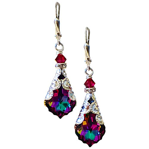 HisJewelsCreations Baroque Crystal Vintage Inspired Leverback Drop Earrings (Electra)