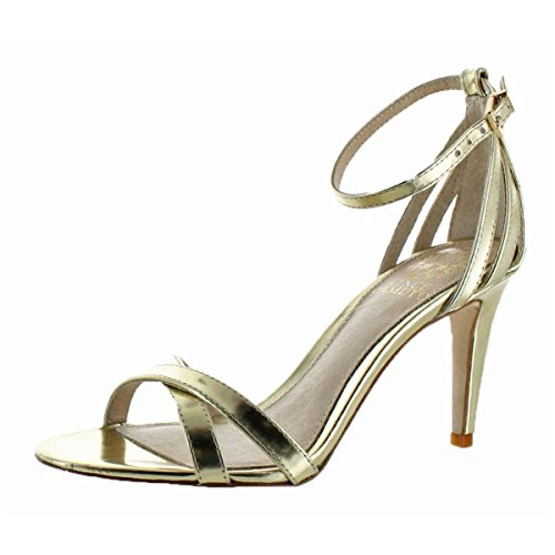 Vince Camuto Camron Womens Gold Leather Open Toe Criss-Cross Sandal Size 8
