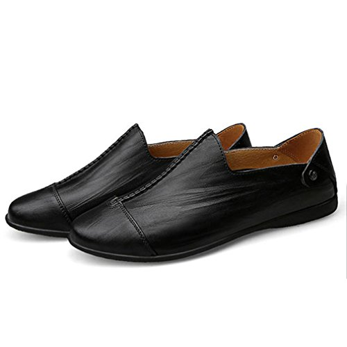 Feidaeu Hommes Mocassins Chaussures Ultra-léger Cuir Souple Grand Taille Plat Slip-on Conduite Mode Loafers Noir yMybS