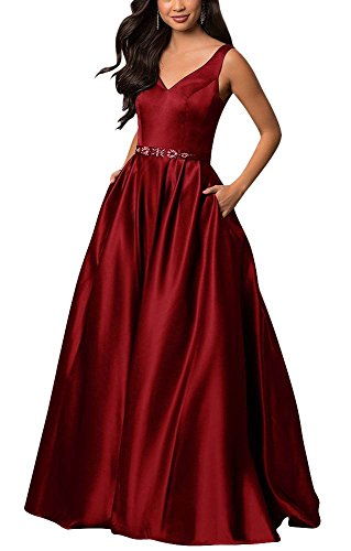yinyyinhs Women's Off The Shoulder Beaded Satin Evening Prom Dress with Pocket Size 24 Burgundy