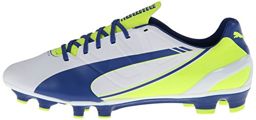 PUMA Women's Evo Speed 3.3 Firm Ground Soccer Shoe,White/Snorkel Blue/Fluorescent Yellow,8 B US by PUMA (Image #5)