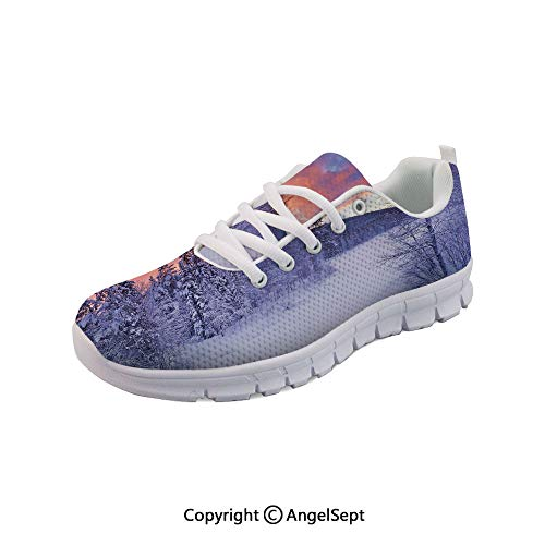 (Athletic Running Shoes River in a Wintry Lapland Lightweight Sneakers)