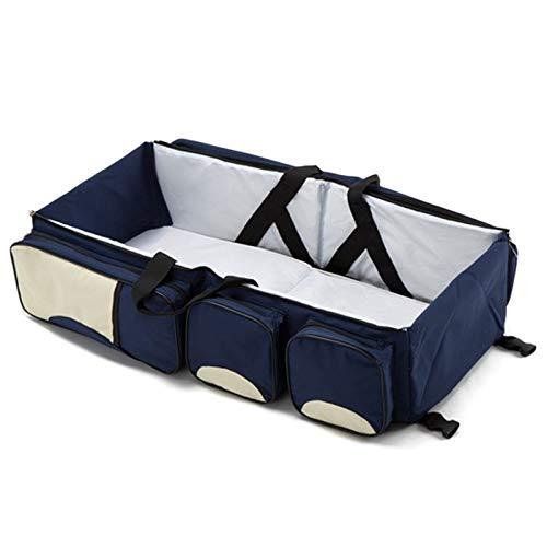 Berceau Portable Et Table a Langer Bleu Marin XZANTE Bebe 3 en 1 Multi-Fonctionnel Sac a Langer Voyage Berceau